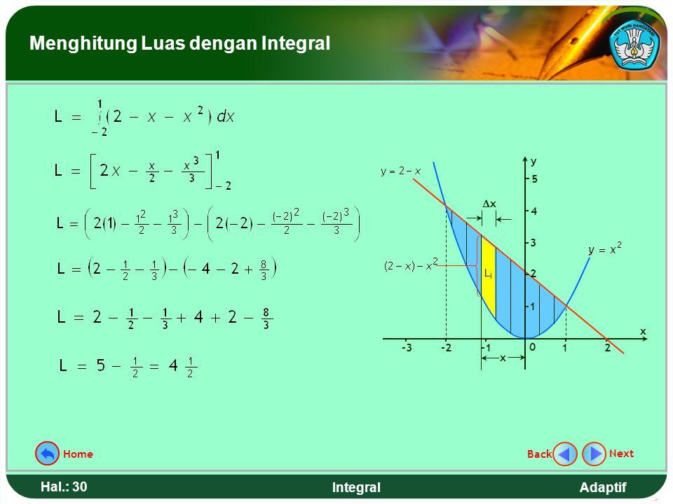 Adaptif Hal.: 29 Integral Hitunglah luas daerah tertutup yang dibatasi kurva y = x 2 dan garis y = 2 - x Contoh 5. Langkah penyelesaian: 1.Gambar daer