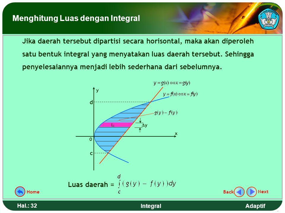 Adaptif Hal.: 31 Integral Untuk kasus tertentu pemartisian secara vertikal menyebabkan ada dua bentuk integral. Akibatnya diperlukan waktu lebih lama