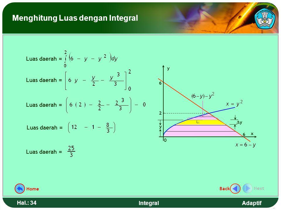 Adaptif Hal.: 33 Integral Hitunglah luas daerah yang dibatasi kurva y 2 = x, garis x + y = 6, dan sumbu x Contoh 6. Langkah penyelesaian: 1.Gambar dae