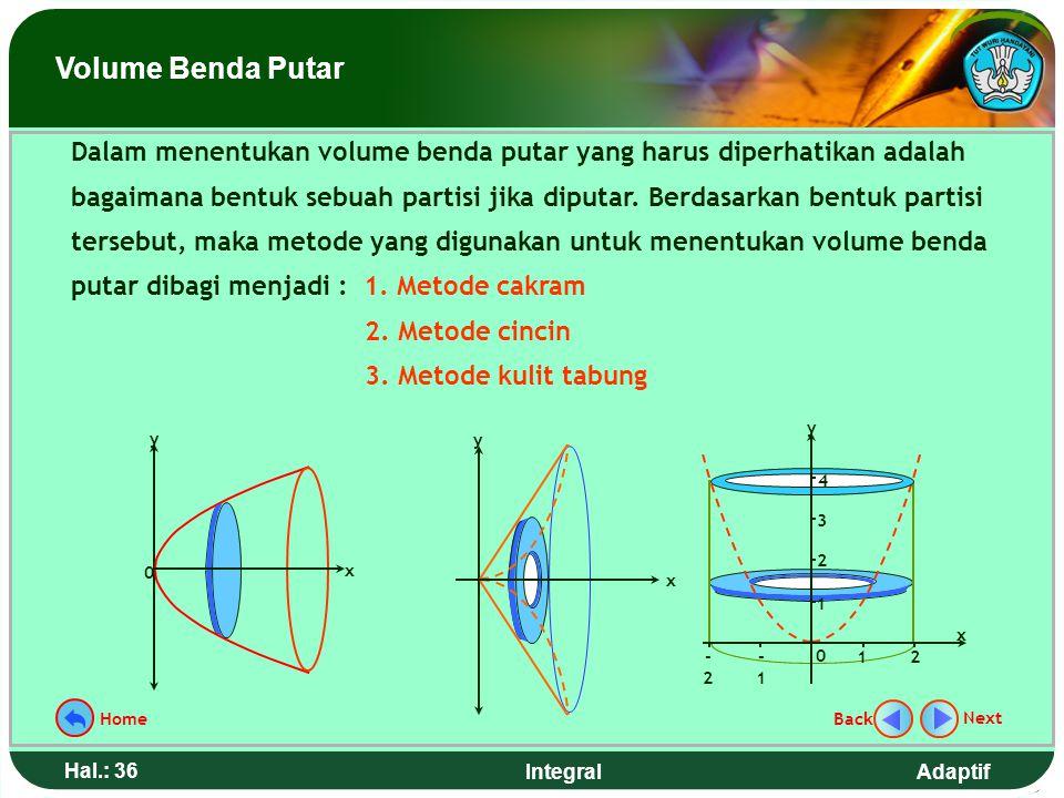 Adaptif Hal.: 35 Integral Suatu daerah jika di putar mengelilingi garis tertentu sejauh 360º, maka akan terbentuk suatu benda putar. Kegiatan pokok da