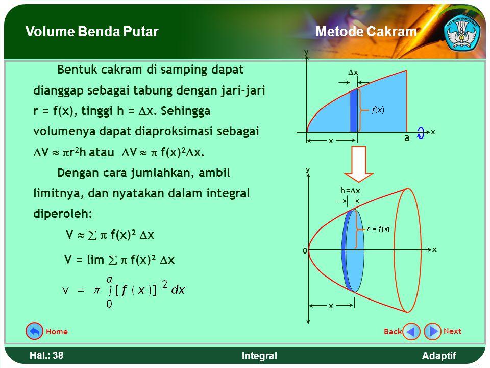 Adaptif Hal.: 37 Integral Metode cakram yang digunakan dalam menentukan volume benda putar dapat dianalogikan seperti menentukan volume mentimun denga