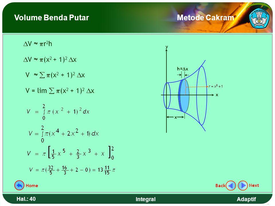 Adaptif Hal.: 39 Integral Hitunglah volume benda putar yang terjadi jika daerah yang dibatasi kurva y = x 2 + 1, sumbu x, sumbu y, garis x = 2 diputar