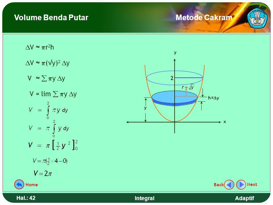 Adaptif Hal.: 41 Integral Hitunglah volume benda putar yang terjadi jika daerah yang dibatasi kurva y = x 2, sumbu y, garis y = 2 diputar mengelilingi