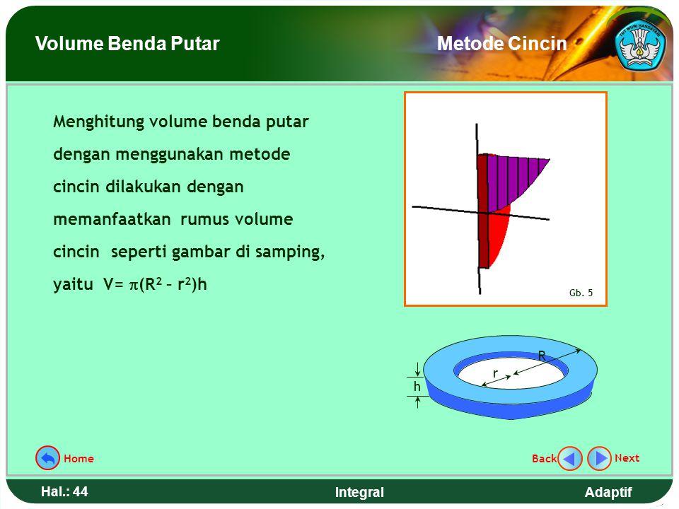 Adaptif Hal.: 43 Integral Metode cincin yang digunakan dalam menentukan volume benda putar dapat dianalogikan seperti menentukan volume bawang bombay