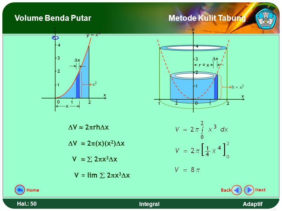 Adaptif Hal.: 49 Integral Hitunglah volume benda putar yang terjadi jika daerah yang dibatasi kurva y = x 2, garis x = 2, dan sumbu x diputar mengelil