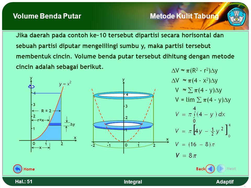 Adaptif Hal.: 50 Integral 0 x 12 x xx x2x2 y 1 2 3 4 r = x xx h = x 2 0 x 12 1 2 y 1 2 3 4  V  2  rh  x  V  2  (x)(x 2 )  x V   2  x 3