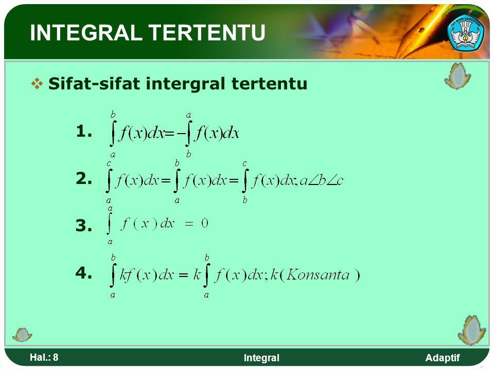 Adaptif Hal.: 7 Integral INTEGRAL TERTENTU Bentuk umum intergral tertentu a disebut batas bawah b disebut batas bawah F(x) : fungsi hasil integral dar