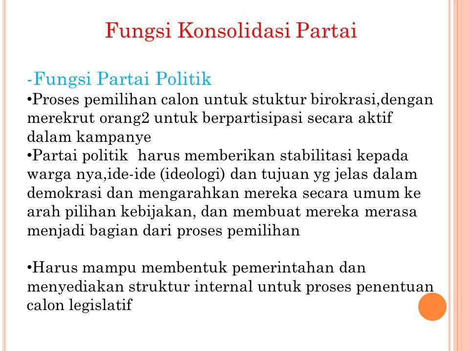 Fungsi Konsolidasi Partai -Fungsi Partai Politik Proses pemilihan calon untuk stuktur birokrasi,dengan merekrut orang2 untuk berpartisipasi secara akt