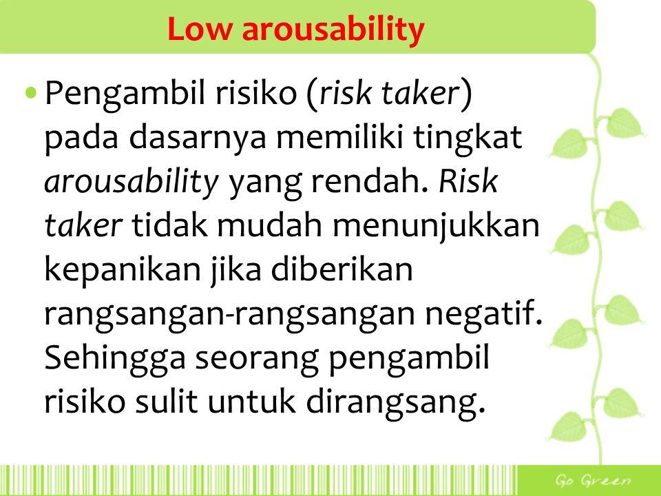 Low arousability Pengambil risiko (risk taker) pada dasarnya memiliki tingkat arousability yang rendah. Risk taker tidak mudah menunjukkan kepanikan j