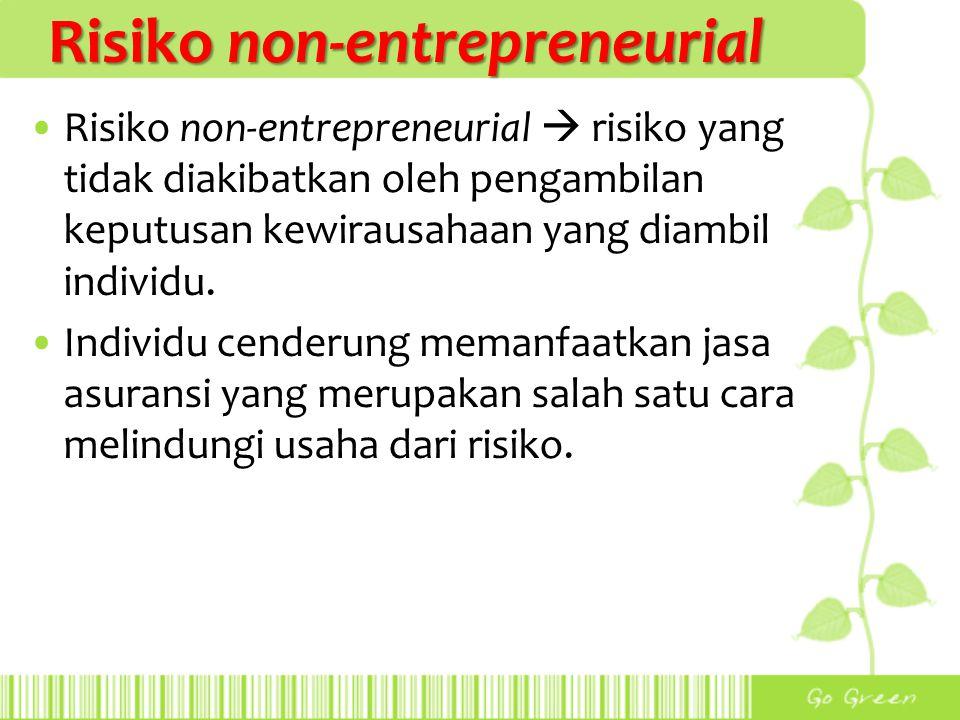 Risiko non-entrepreneurial Risiko non-entrepreneurial  risiko yang tidak diakibatkan oleh pengambilan keputusan kewirausahaan yang diambil individu.
