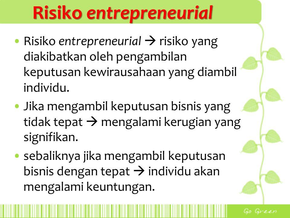 Risiko entrepreneurial Risiko entrepreneurial  risiko yang diakibatkan oleh pengambilan keputusan kewirausahaan yang diambil individu. Jika mengambil