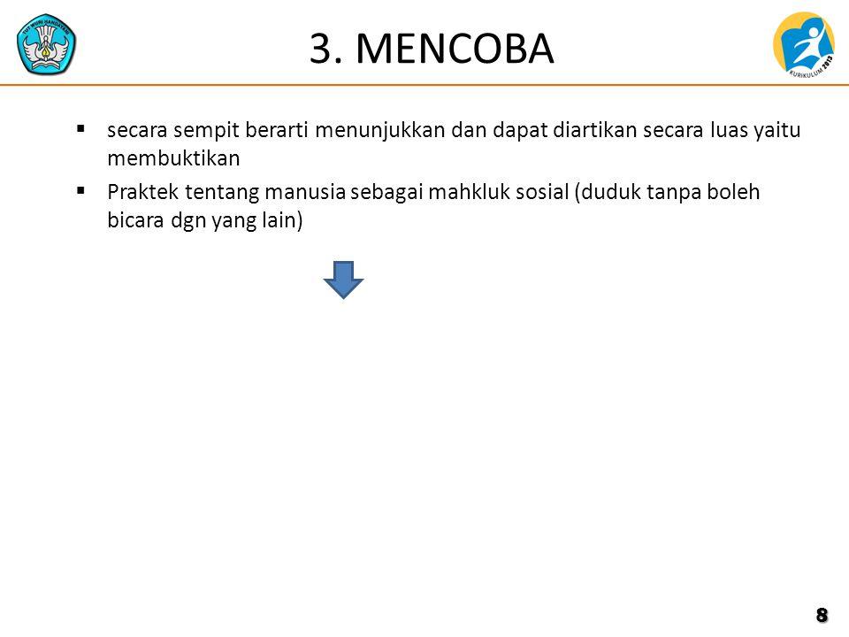 3. MENCOBA  secara sempit berarti menunjukkan dan dapat diartikan secara luas yaitu membuktikan  Praktek tentang manusia sebagai mahkluk sosial (dud