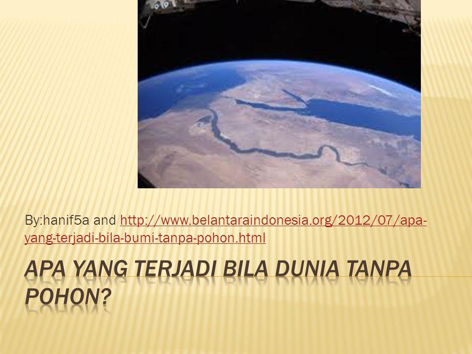 By:hanif5a and http://www.belantaraindonesia.org/2012/07/apa- yang-terjadi-bila-bumi-tanpa-pohon.htmlhttp://www.belantaraindonesia.org/2012/07/apa- yang-terjadi-bila-bumi-tanpa-pohon.html