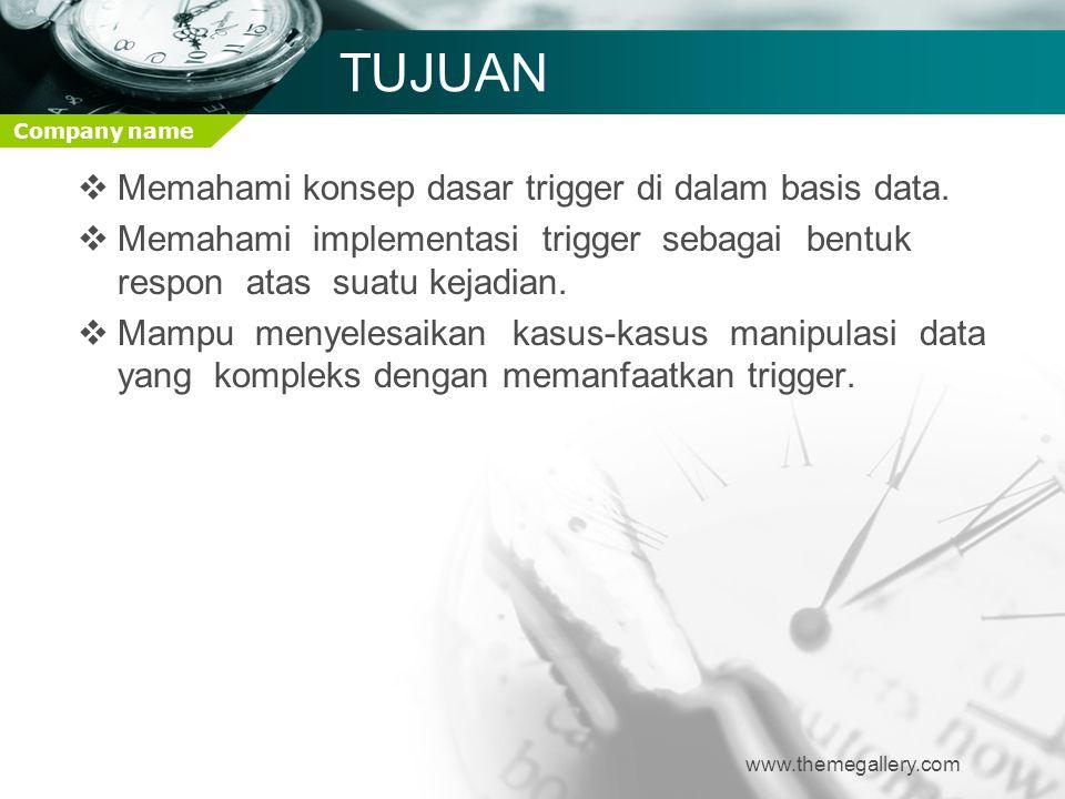 Company name TUJUAN  Memahami konsep dasar trigger di dalam basis data.  Memahami implementasi trigger sebagai bentuk respon atas suatu kejadian. 