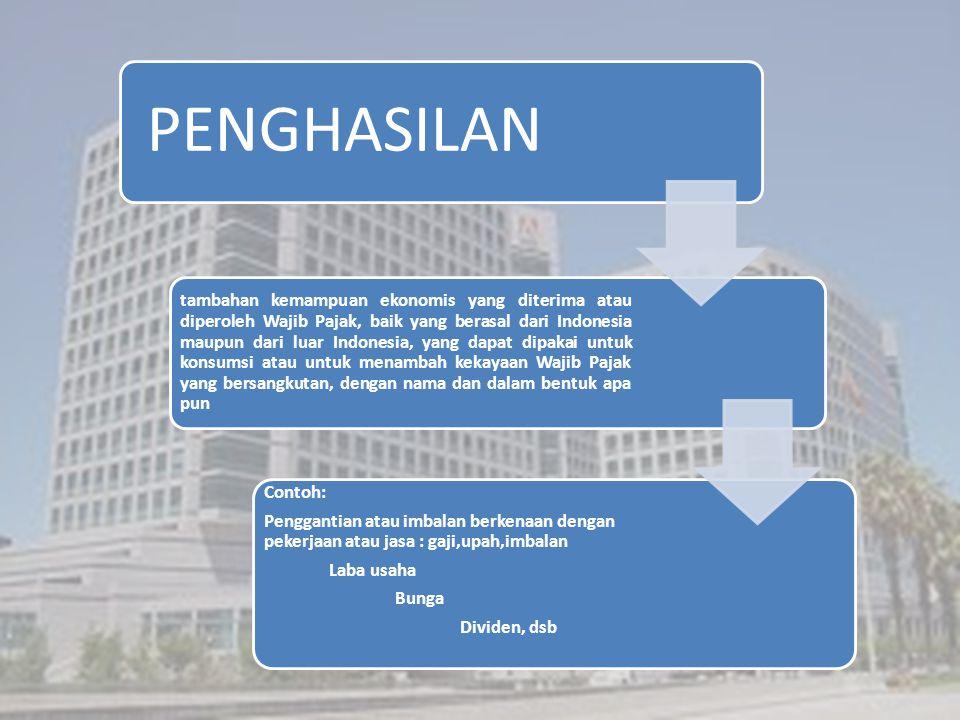 PENGHASILAN tambahan kemampuan ekonomis yang diterima atau diperoleh Wajib Pajak, baik yang berasal dari Indonesia maupun dari luar Indonesia, yang da