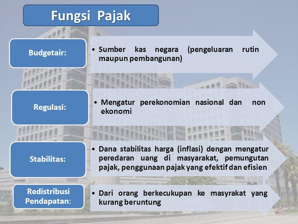 Sumber kas negara (pengeluaran rutin maupun pembangunan) Budgetair: Mengatur perekonomian nasional dan non ekonomi Regulasi: Dana stabilitas harga (in