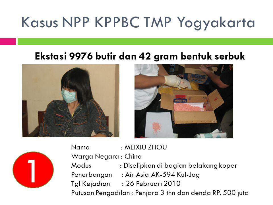 Kasus NPP KPPBC TMP Yogyakarta Ekstasi 9976 butir dan 42 gram bentuk serbuk Nama : MEIXIU ZHOU Warga Negara : China Modus : Diselipkan di bagian belak