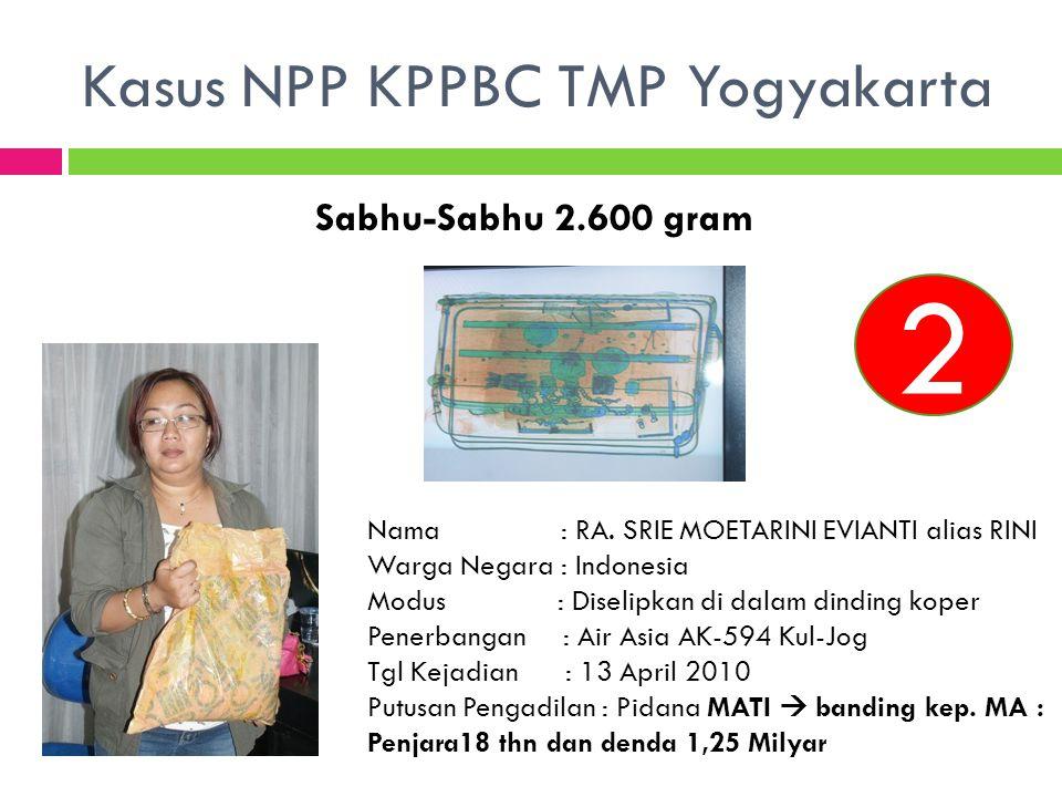 Sabhu-Sabhu 2.600 gram 2 Nama : RA. SRIE MOETARINI EVIANTI alias RINI Warga Negara : Indonesia Modus : Diselipkan di dalam dinding koper Penerbangan :