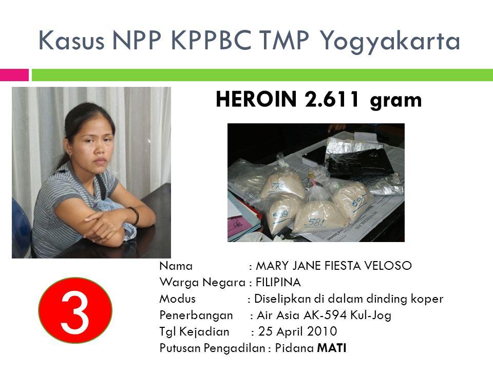 HEROIN 2.611 gram Nama : MARY JANE FIESTA VELOSO Warga Negara : FILIPINA Modus : Diselipkan di dalam dinding koper Penerbangan : Air Asia AK-594 Kul-J