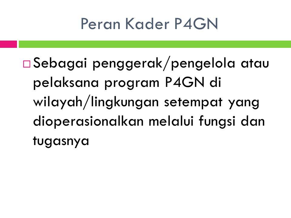 Peran Kader P4GN  Sebagai penggerak/pengelola atau pelaksana program P4GN di wilayah/lingkungan setempat yang dioperasionalkan melalui fungsi dan tug