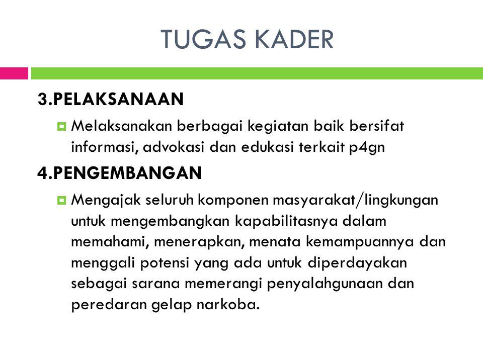 TUGAS KADER 3.PELAKSANAAN  Melaksanakan berbagai kegiatan baik bersifat informasi, advokasi dan edukasi terkait p4gn 4.PENGEMBANGAN  Mengajak seluru