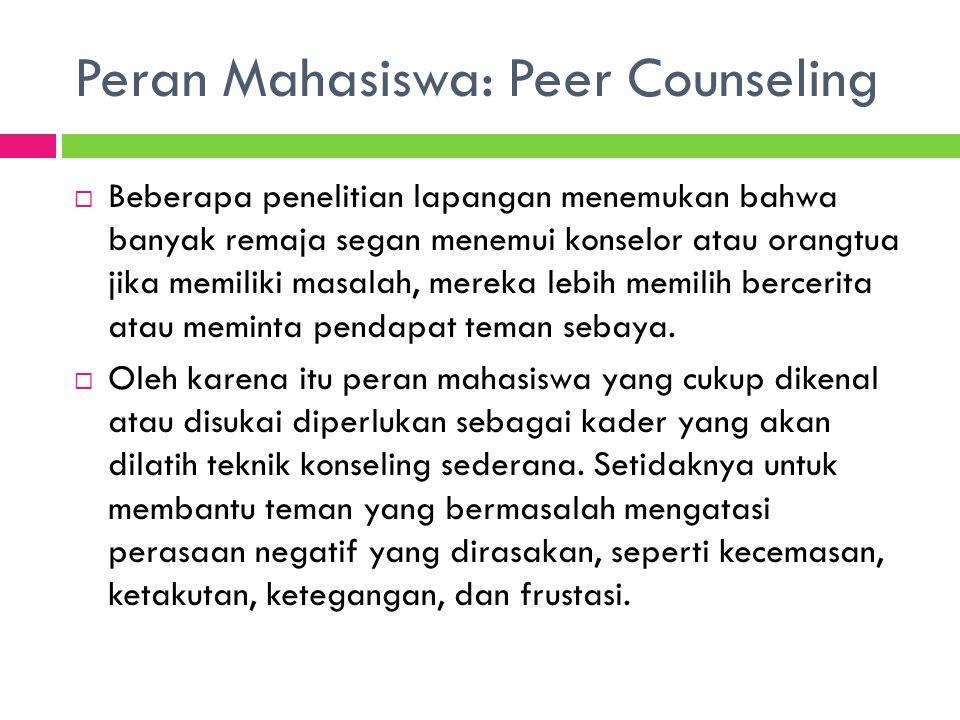 Peran Mahasiswa: Peer Counseling  Beberapa penelitian lapangan menemukan bahwa banyak remaja segan menemui konselor atau orangtua jika memiliki masal