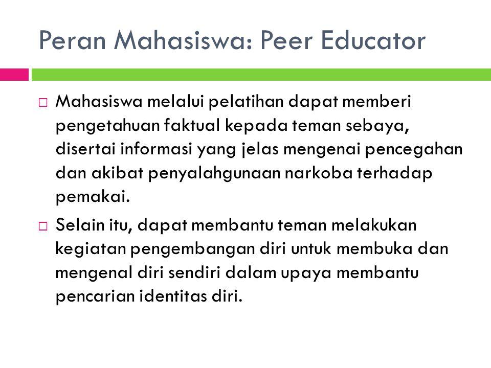 Peran Mahasiswa: Peer Educator  Mahasiswa melalui pelatihan dapat memberi pengetahuan faktual kepada teman sebaya, disertai informasi yang jelas meng