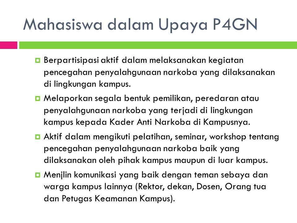 Mahasiswa dalam Upaya P4GN  Berpartisipasi aktif dalam melaksanakan kegiatan pencegahan penyalahgunaan narkoba yang dilaksanakan di lingkungan kampus