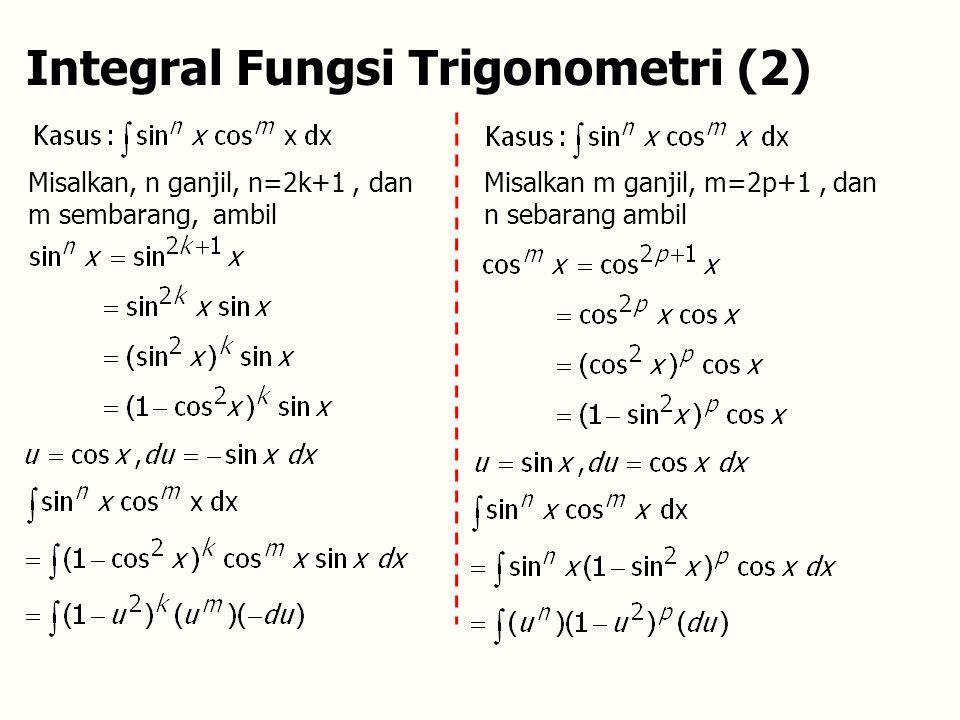 Integral Fungsi Trigonometri (2) Misalkan, n ganjil, n=2k+1, dan m sembarang, ambil Misalkan m ganjil, m=2p+1, dan n sebarang ambil
