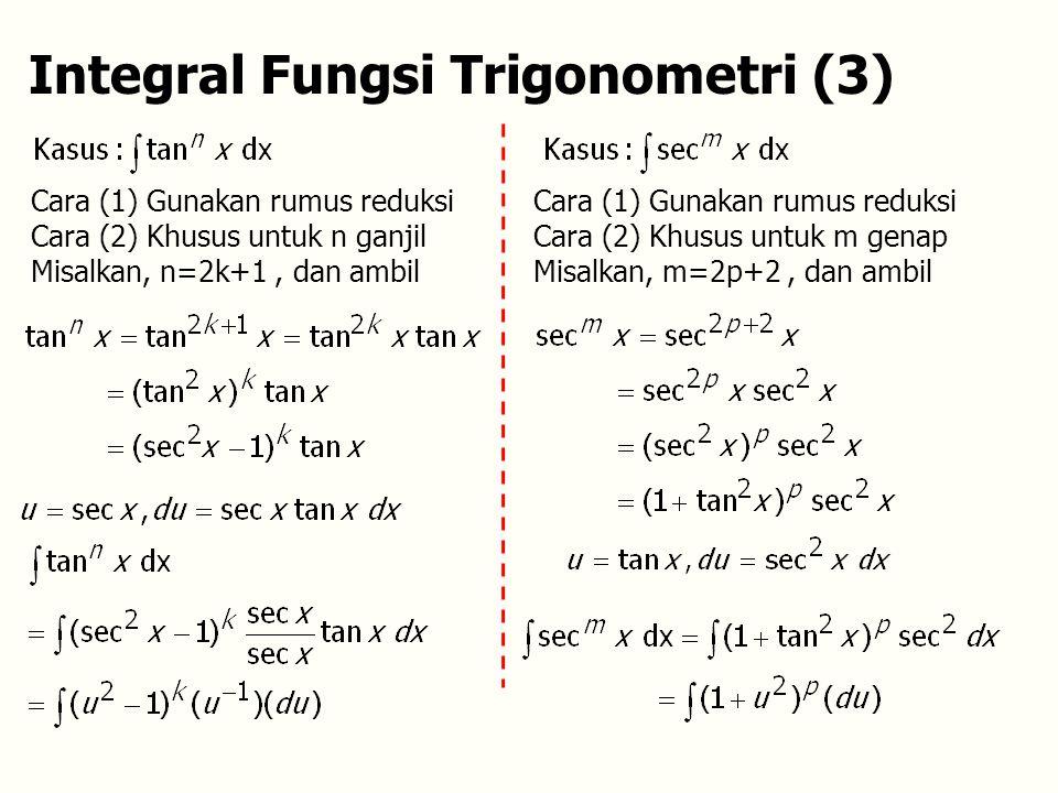 Integral Fungsi Trigonometri (3) Cara (1) Gunakan rumus reduksi Cara (2) Khusus untuk n ganjil Misalkan, n=2k+1, dan ambil Cara (1) Gunakan rumus reduksi Cara (2) Khusus untuk m genap Misalkan, m=2p+2, dan ambil