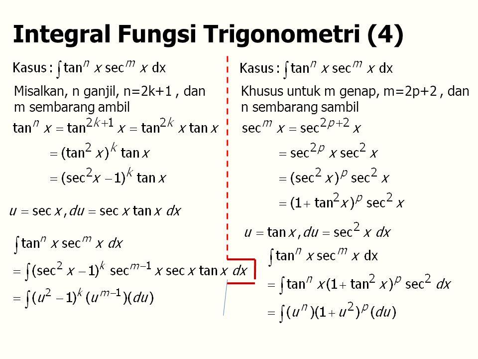 Integral Fungsi Trigonometri (4) Misalkan, n ganjil, n=2k+1, dan m sembarang ambil Khusus untuk m genap, m=2p+2, dan n sembarang sambil