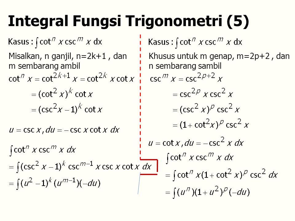 Integral Fungsi Trigonometri (5) Misalkan, n ganjil, n=2k+1, dan m sembarang ambil Khusus untuk m genap, m=2p+2, dan n sembarang sambil