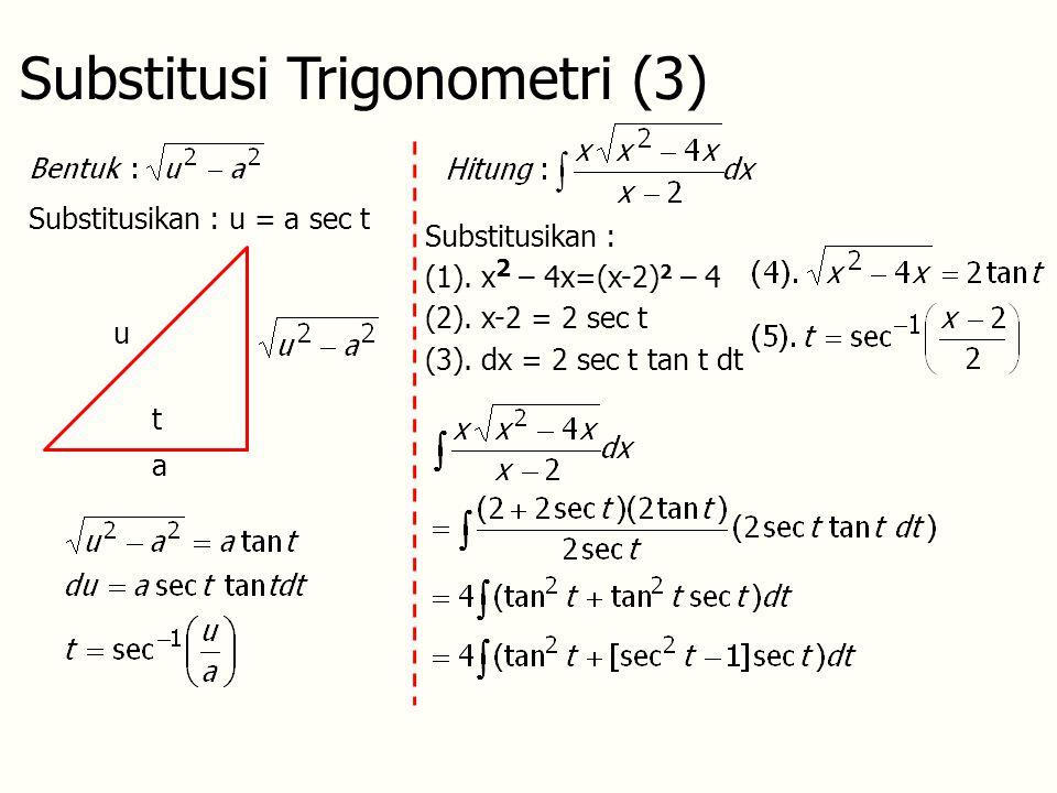 Substitusi Trigonometri (3) Substitusikan : u = a sec t t u a Substitusikan : (1).