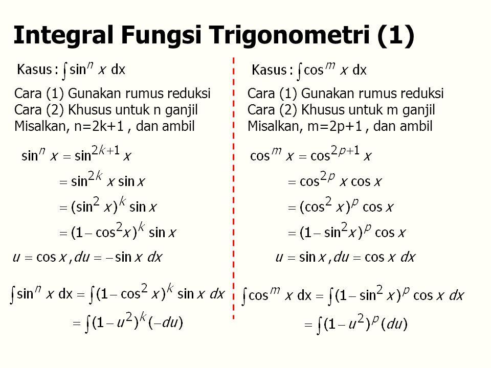 Integral Fungsi Trigonometri (1) Cara (1) Gunakan rumus reduksi Cara (2) Khusus untuk n ganjil Misalkan, n=2k+1, dan ambil Cara (1) Gunakan rumus reduksi Cara (2) Khusus untuk m ganjil Misalkan, m=2p+1, dan ambil