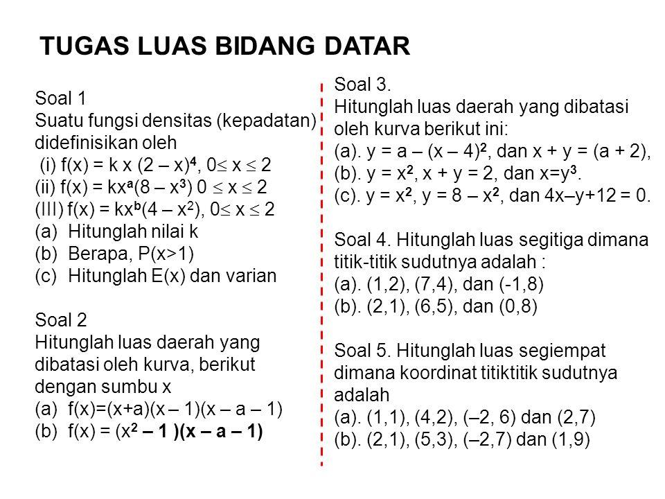 Soal 1 Suatu fungsi densitas (kepadatan) didefinisikan oleh (i) f(x) = k x (2 – x) 4, 0  x  2 (ii) f(x) = kx a (8 – x 3 ) 0  x  2 (III) f(x) = kx b (4 – x 2 ), 0  x  2 (a)Hitunglah nilai k (b)Berapa, P(x>1) (c)Hitunglah E(x) dan varian Soal 2 Hitunglah luas daerah yang dibatasi oleh kurva, berikut dengan sumbu x (a)f(x)=(x+a)(x – 1)(x – a – 1) (b)f(x) = (x 2 – 1 )(x – a – 1) TUGAS LUAS BIDANG DATAR Soal 3.