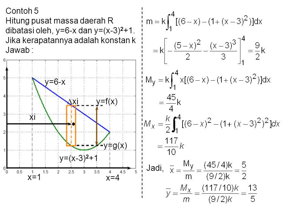 Contoh 5 Hitung pusat massa daerah R dibatasi oleh, y=6-x dan y=(x-3) 2 +1. Jika kerapatannya adalah konstan k Jawab : y=f(x) y=g(x) y=6-x xi y=(x-3)