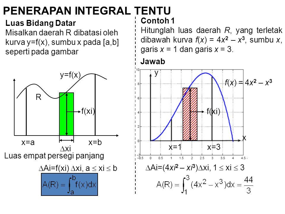 PENERAPAN INTEGRAL TENTU Luas Bidang Datar Misalkan daerah R dibatasi oleh kurva y=f(x), sumbu x pada [a,b] seperti pada gambar R y=f(x) f(xi)  xi x=ax=b  Ai=f(xi)  xi, a  xi  b Luas empat persegi panjang Contoh 1 Hitunglah luas daerah R, yang terletak dibawah kurva f(x) = 4x 2 – x 3, sumbu x, garis x = 1 dan garis x = 3.