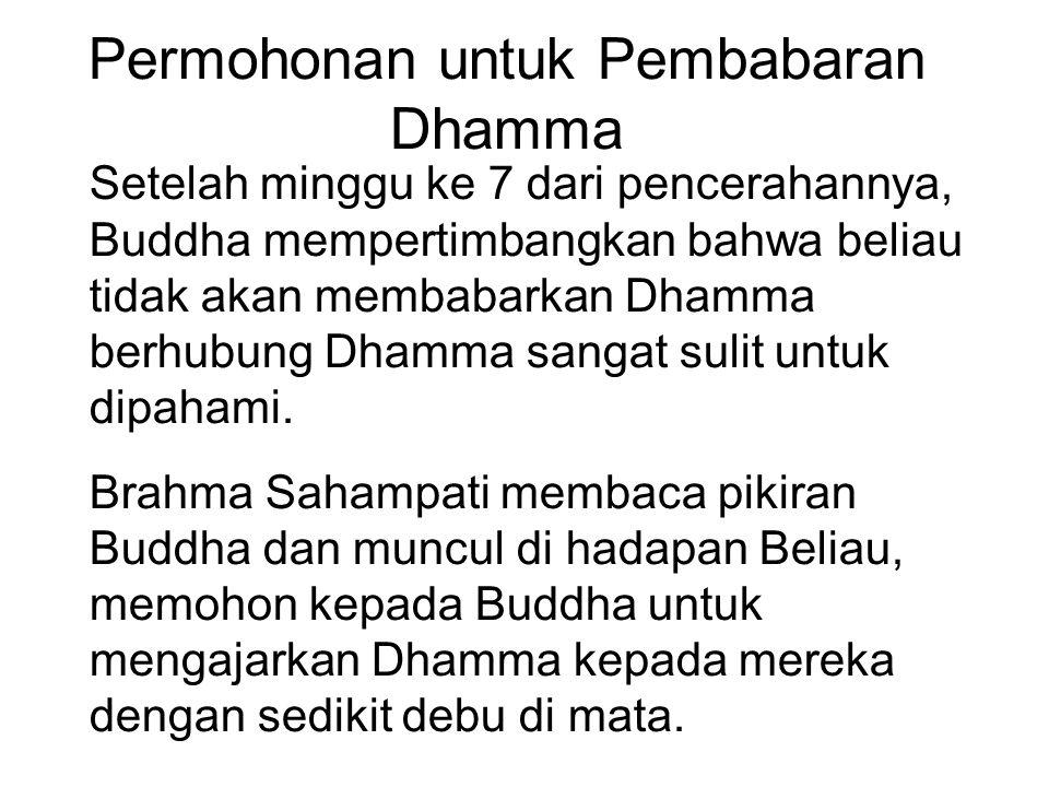 Permohonan untuk Pembabaran Dhamma Setelah minggu ke 7 dari pencerahannya, Buddha mempertimbangkan bahwa beliau tidak akan membabarkan Dhamma berhubun