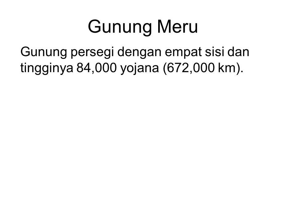 Gunung Meru Gunung persegi dengan empat sisi dan tingginya 84,000 yojana (672,000 km). Around it are seven 7 lakes separated by 7 rings of golden moun