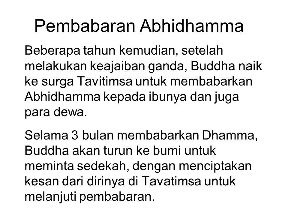 Pembabaran Abhidhamma Beberapa tahun kemudian, setelah melakukan keajaiban ganda, Buddha naik ke surga Tavitimsa untuk membabarkan Abhidhamma kepada i