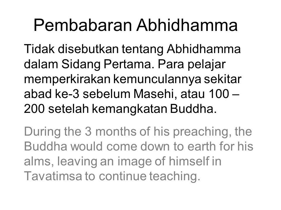 Pembabaran Abhidhamma Tidak disebutkan tentang Abhidhamma dalam Sidang Pertama. Para pelajar memperkirakan kemunculannya sekitar abad ke-3 sebelum Mas