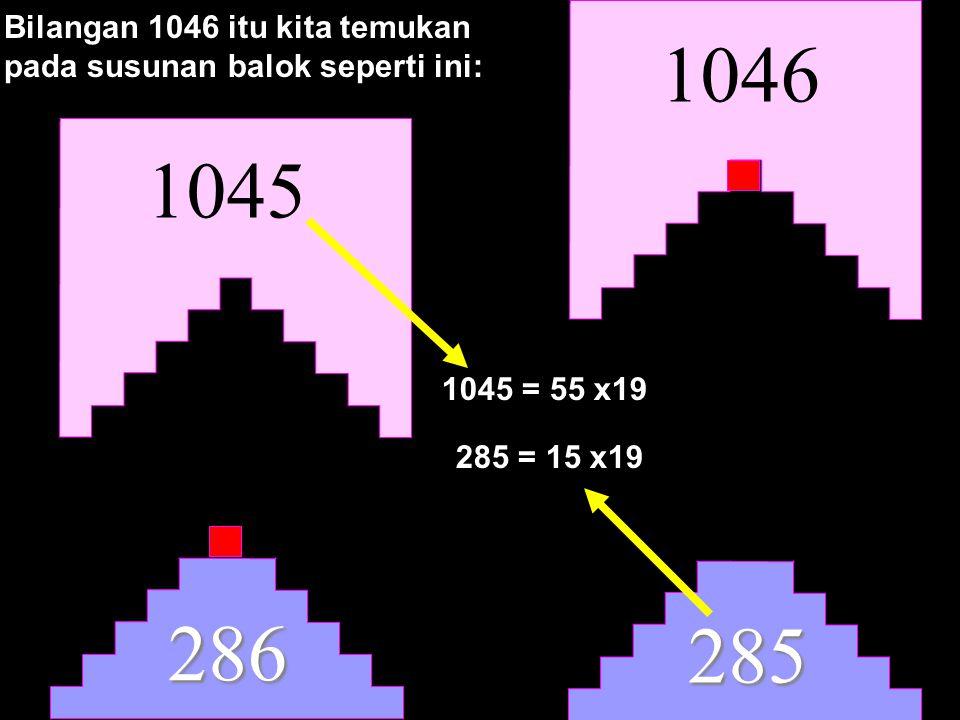 1046 285 Bilangan 1046 itu kita temukan pada susunan balok seperti ini: 286 1045 1045 = 55 x19 285 = 15 x19