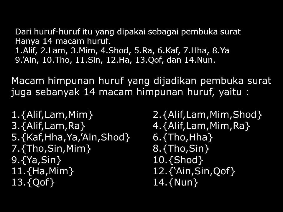Dari huruf-huruf itu yang dipakai sebagai pembuka surat Hanya 14 macam huruf. 1.Alif, 2.Lam, 3.Mim, 4.Shod, 5.Ra, 6.Kaf, 7.Hha, 8.Ya 9.'Ain, 10.Tho, 1