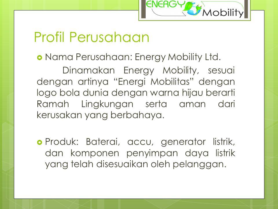 """Profil Perusahaan  Nama Perusahaan: Energy Mobility Ltd. Dinamakan Energy Mobility, sesuai dengan artinya """"Energi Mobilitas"""" dengan logo bola dunia d"""