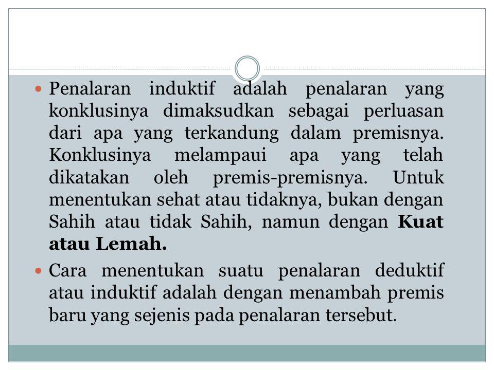 Jadi : Hasil penalaran deduktif : Sahih dan Tidak Sahih Hasil penalaran induktif : Kuat dan Lemah Validitas Contoh : Penalaran A : Angsa yang kita lihat di Surabaya berwarna putih.