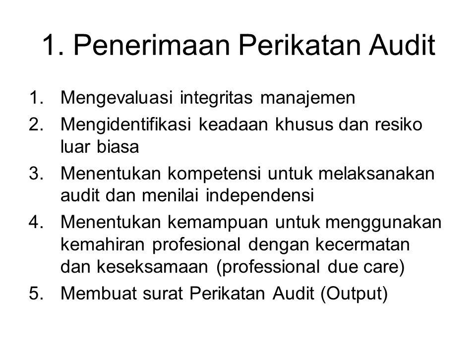 1. Penerimaan Perikatan Audit 1.Mengevaluasi integritas manajemen 2.Mengidentifikasi keadaan khusus dan resiko luar biasa 3.Menentukan kompetensi untu