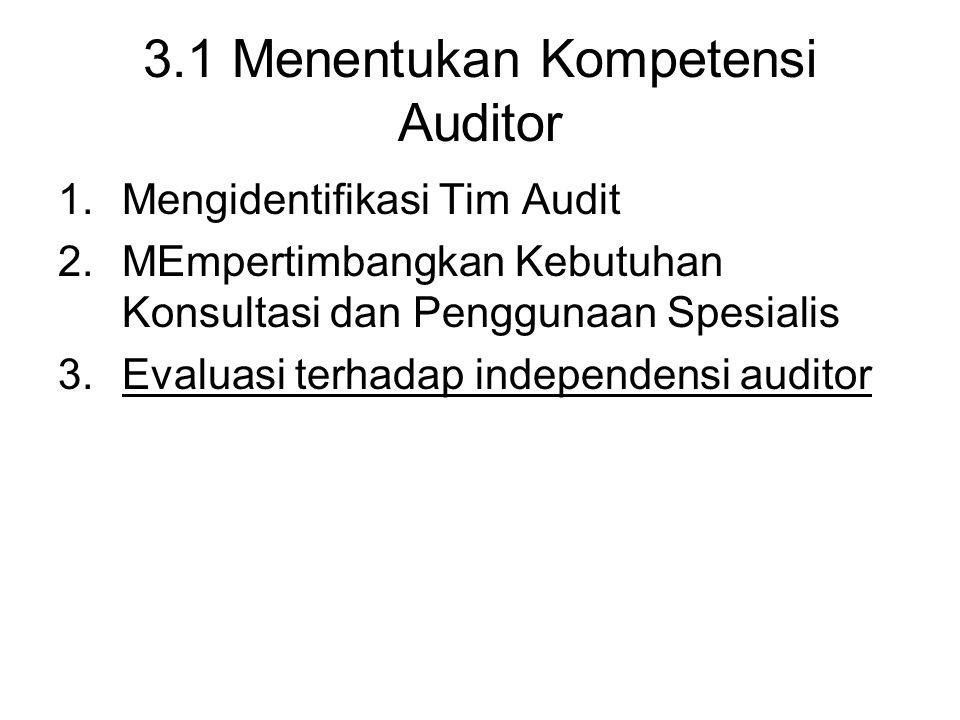 3.1 Menentukan Kompetensi Auditor 1.Mengidentifikasi Tim Audit 2.MEmpertimbangkan Kebutuhan Konsultasi dan Penggunaan Spesialis 3.Evaluasi terhadap in