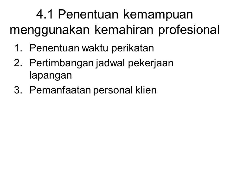 4.1 Penentuan kemampuan menggunakan kemahiran profesional 1.Penentuan waktu perikatan 2.Pertimbangan jadwal pekerjaan lapangan 3.Pemanfaatan personal