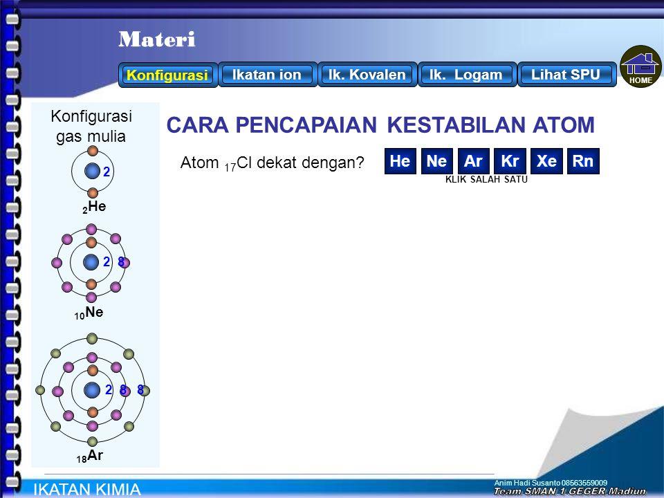 Anim Hadi Susanto 08563559009 Konfigurasi 3 Li: 2 1 Agar atom Li stabil seperti gas mulia Cenderung / elektron CARA PENCAPAIAN KESTABILAN ATOM 2 8 8 2