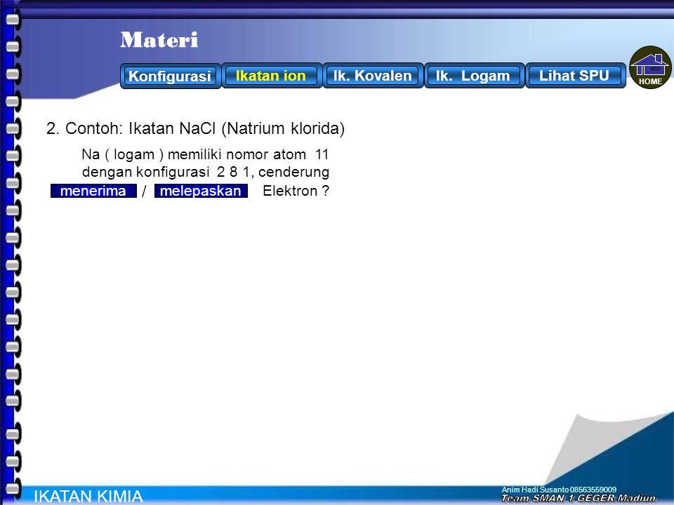 Anim Hadi Susanto 08563559009 Ikatan Ion: Ikatan yang terjadi antara atom yang melepaskan elektron (uns.logam) dengan atom yang menangkap elektron (un